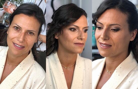 antes e depois maquilhagem casamento